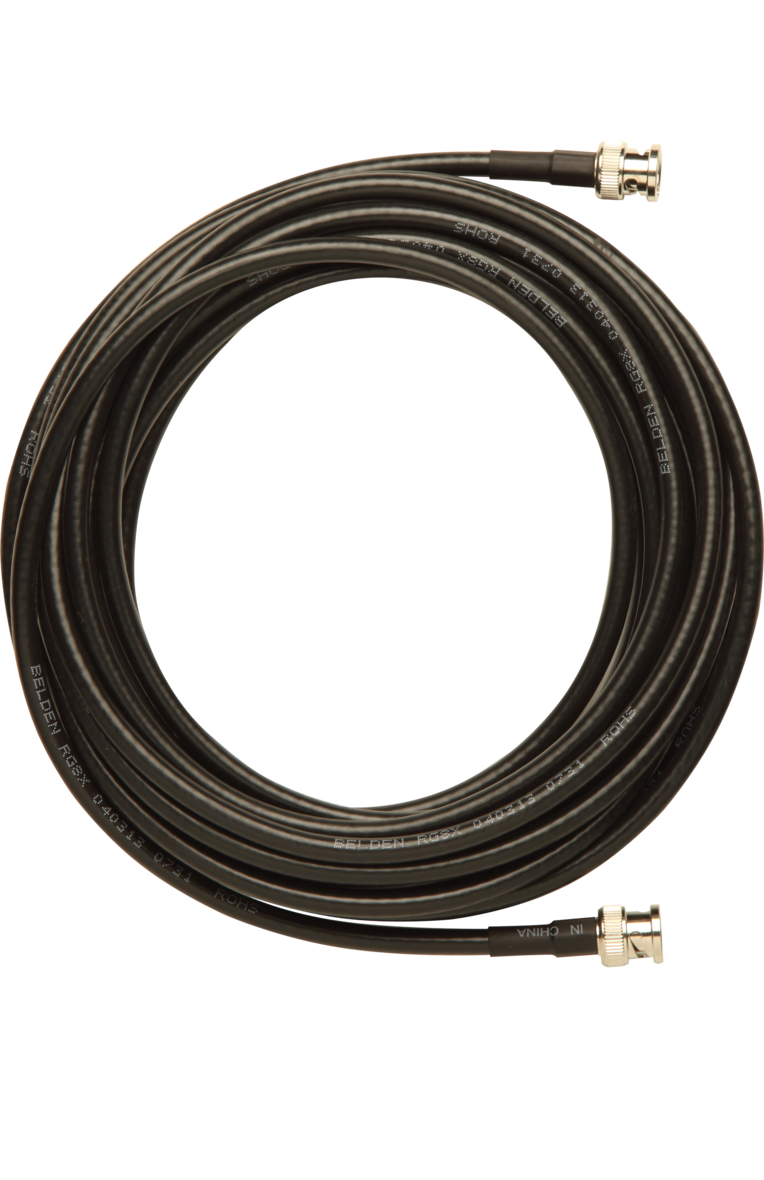 BNC-BNC Cable for Remote Antenna Mounting Shure UA825 25 ft UHF RG8X//U Type